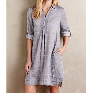 Anthropologie Chambray Dot Shirtdress